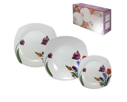 набор тарелок 18ед мод 1014(квадрат  тарелка)