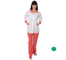 костюм жен белый зелен вставка